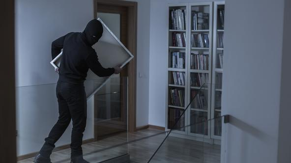 Image of robber in black mask stealing picture